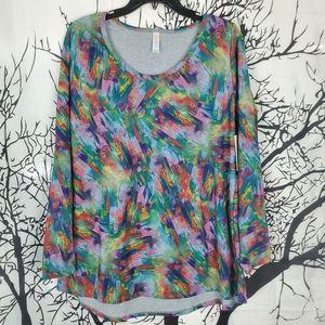 4/$25 LuLaRoe Lynnae Top Rainbow Colorful Print 2X
